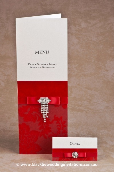 red - menu and place card