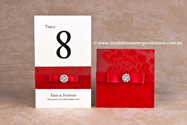 red - table number and thank you card