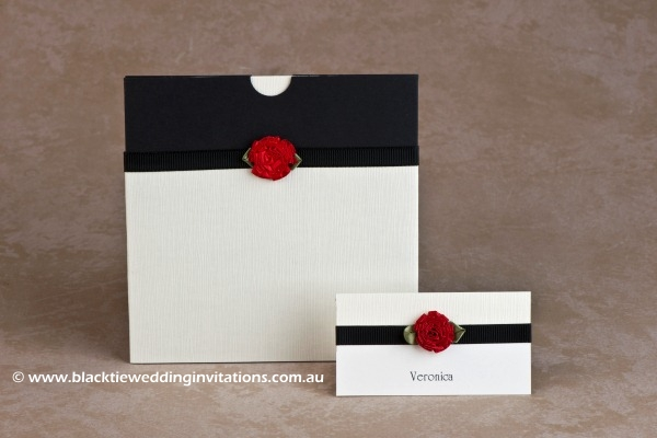 wedding invitation single red rose