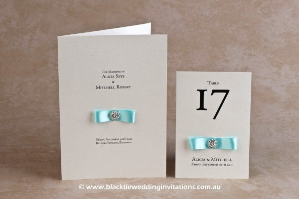touch of blue - service booklet cover and table number