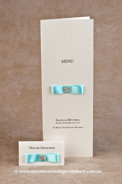touch of blue - place card and menu