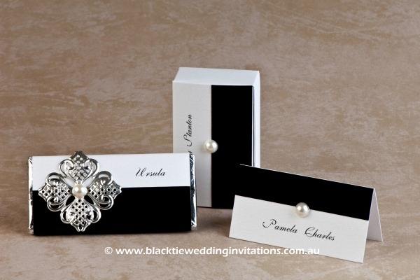 virtue - personalised chocolate, favour box and place card