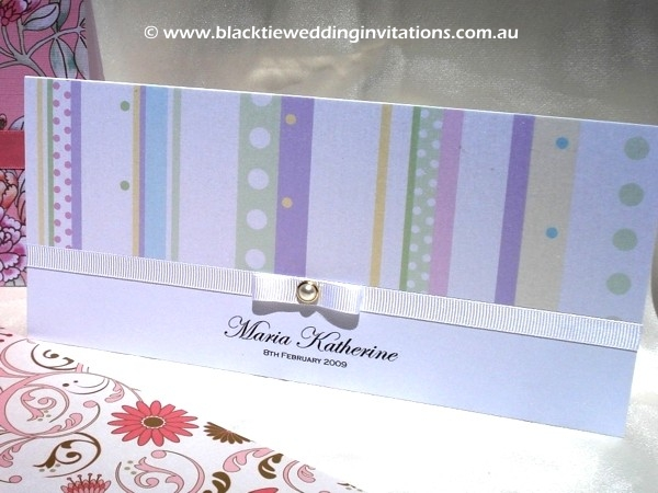 christening invitation candy stripe