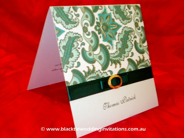 christening invitation emerald fauna