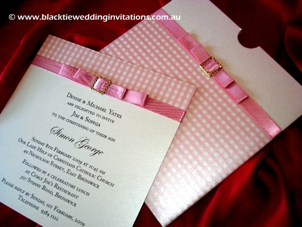 christening invitation pink on pink