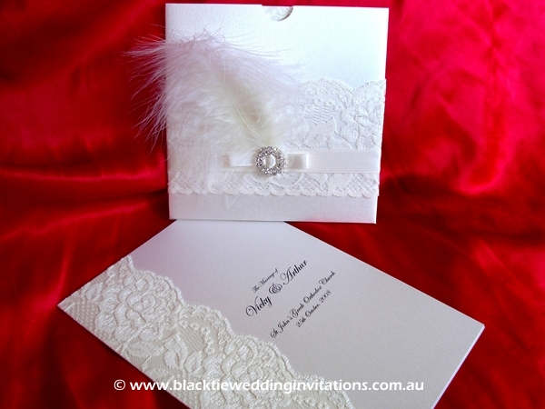 wedding invitation bride and plume