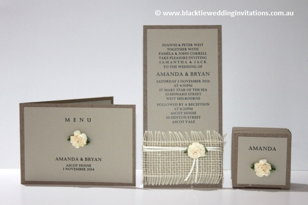 a little bit country: menu, invitation and favour box