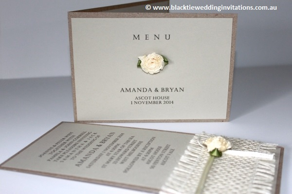 a little bit country:  menu and invitation
