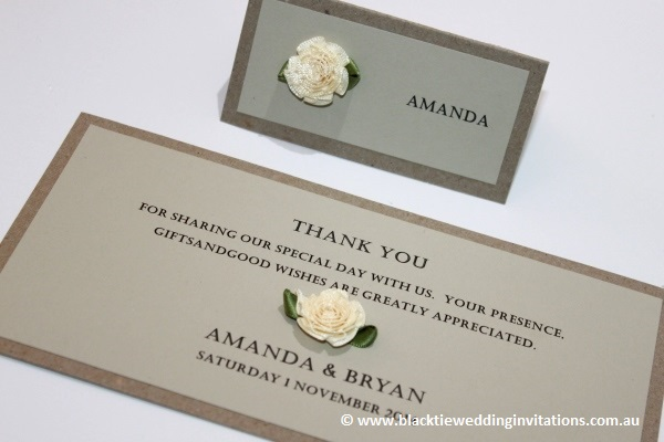 a little bit country: place card and thank you card