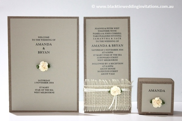 a little bit country: service booklet, invitation and favour box
