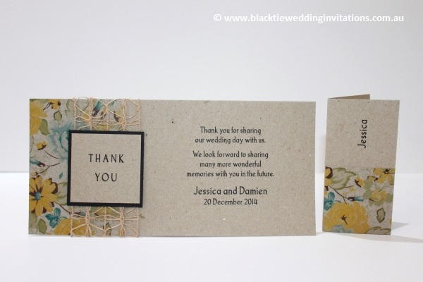 delicate bloom thank you card and place card