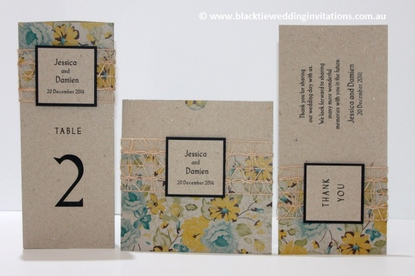 delicate bloom table information card, invitation and thank you card