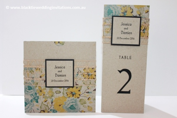 delicate bloom invitation and table information card