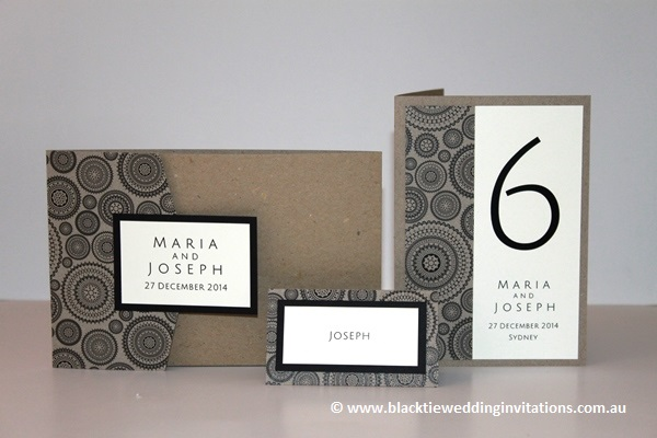 dreamcatcher invitation, place card and table number/menu card