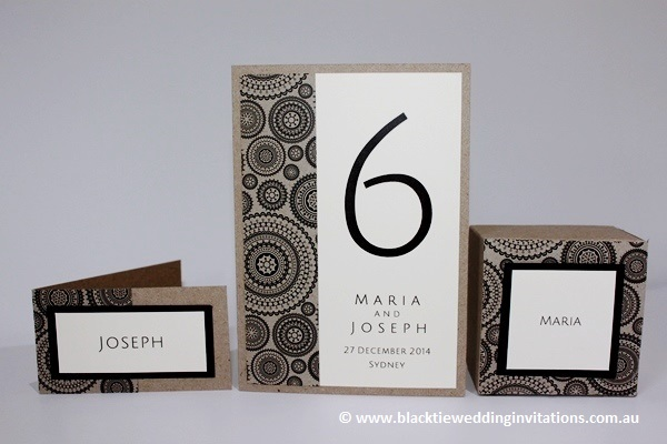 dreamcatcher place card, table number/menu card and favour box