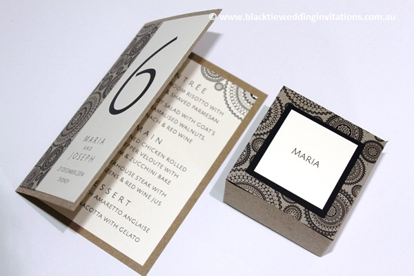 dreamcatcher table number/menu card and favour box