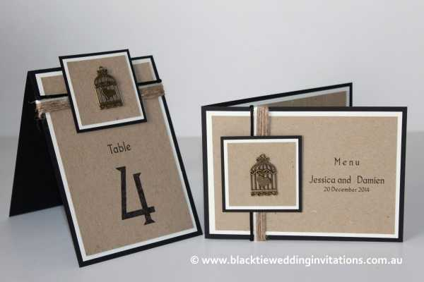 love bird table number and menu