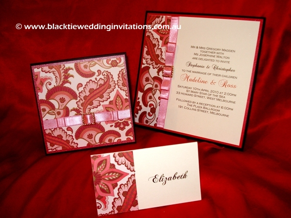 wedding invitation ruby damask