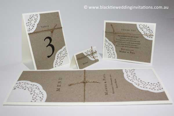 sentimental table number, place card, thank you card and menu