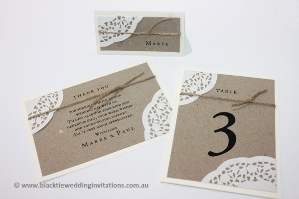 sentimental place card, thank you card and table number