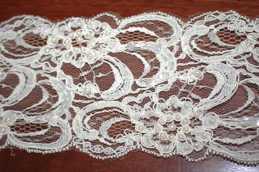 Ivory Beaded Scalloped Lace