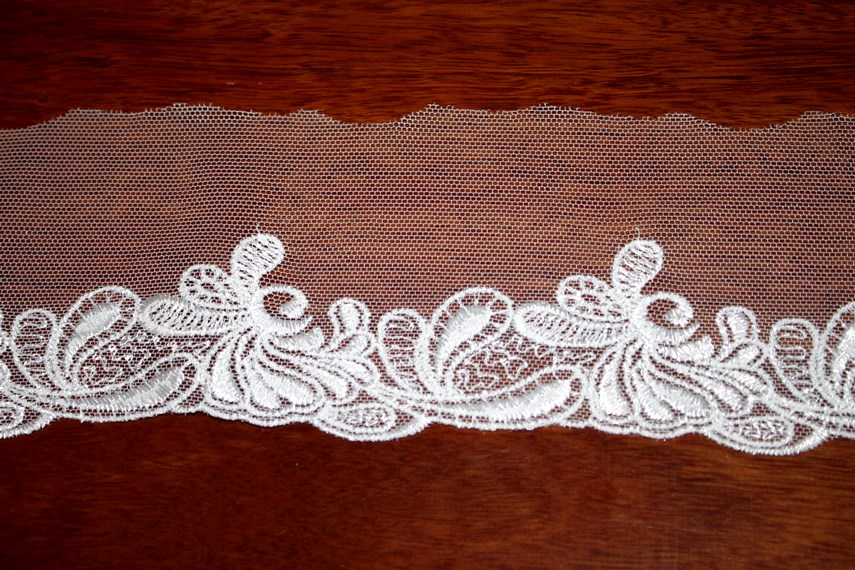 White Scalloped Tulle Edge Lace
